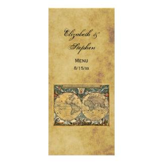 Antique World Map Distressed #3 Menu Card Rack Card