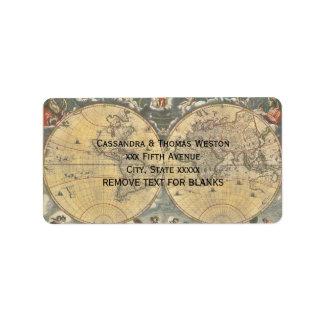 Antique World Map, Distressed BG #2 Address Label