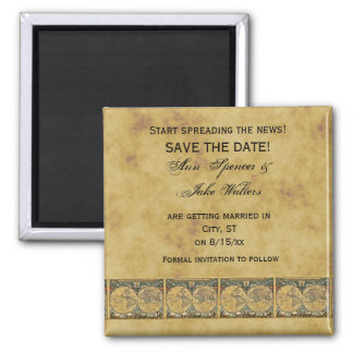 Antique World Map, Distressed BG #2 Save the Date Magnet