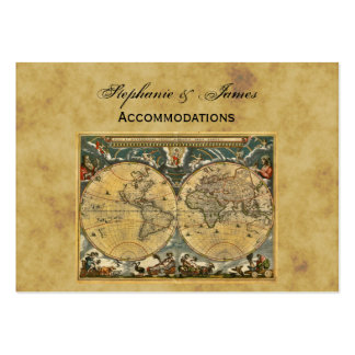 Antique World Map Distressed BG Accommodations Business Card Templates