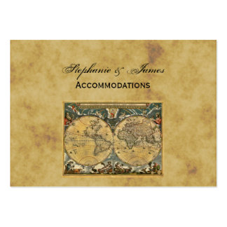 Antique World Map Distressed BG Accommodations Business Card Template