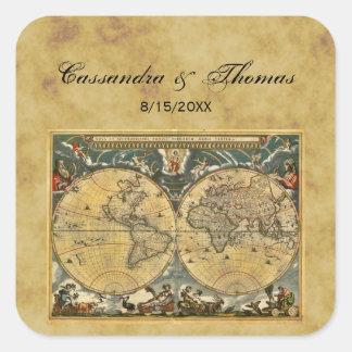 Antique World Map Distressed BG envelope seals