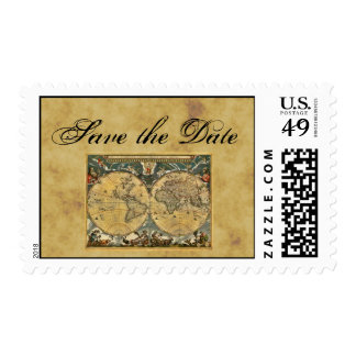 Antique World Map, Distressed BG H Save the Date Postage