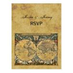 Antique World Map, Distressed BG RSVP Postcard