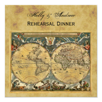 "Antique World Map, Distressed BG SQ Rehearsal Din 5.25"" Square Invitation Card"