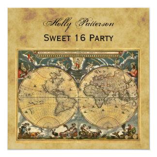Antique World Map, Distressed BG SQ Sweet 16 Invitation