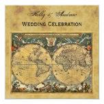 Antique World Map, Distressed BG SQ Wedding Card