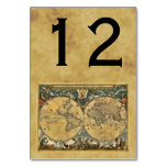 Antique World Map, Distressed BG Table Number Table Cards