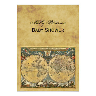 Antique World Map, Distressed BG V Baby Shower 5x7 Paper Invitation Card