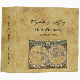 Antique World Map Distressed BG Wedding Binder