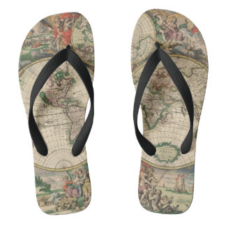 Antique World Map Flip Flops