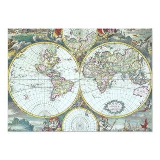 Antique World Map, Frederick De Wit Invitation