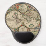 "Antique World Map Gel Mouse Pad<br><div class=""desc"">This pretty design called, Antique World Map, has a beautiful old world feel to it. This vintage style illustration started life as a sketch and was colored in photoshop. The background has several depictions of life for the ancient romans or greeks and in the center is a vintage style map...</div>"