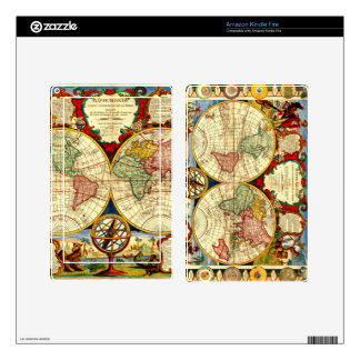 Antique World Map Globe Kindle Fire Skin