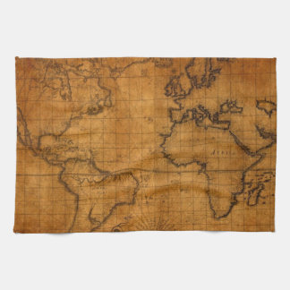 Antique World Map Hand Towel