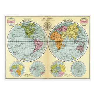 Antique World Map in Hemispheres Postcard