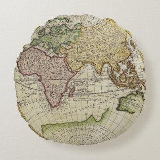 Antique world map in hemispheres round pillow