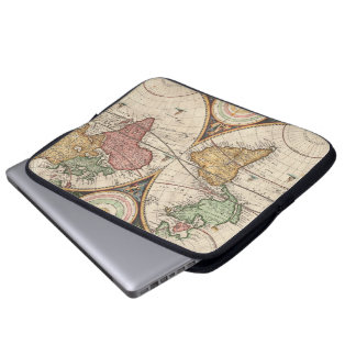 Antique World Map in two Hemispheres Computer Sleeve