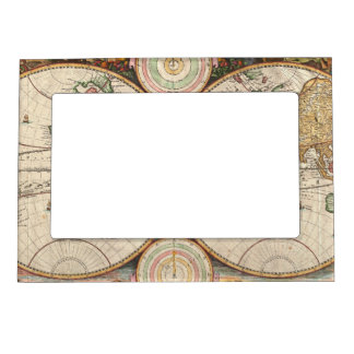 antique world map in two hemispheres magnetic frame