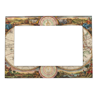 Antique World Map in two Hemispheres Magnetic Photo Frame