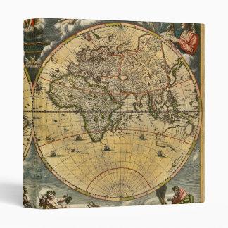 Antique World Map J. Blaeu 1664 3 Ring Binders
