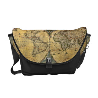 Antique World Map J. Blaeu 1664 Courier Bag