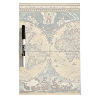 Antique World Map J. Blaeu 1664 Dry Erase Board
