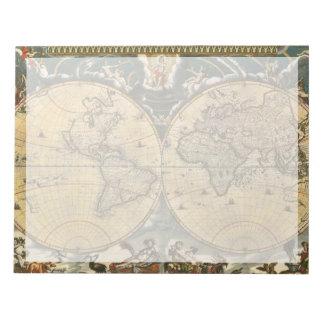 Antique World Map J. Blaeu 1664 Notepad