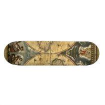 Antique World Map J. Blaeu 1664 Skateboard
