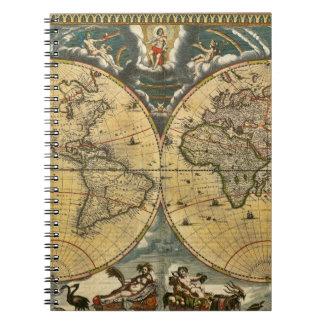 Antique World Map J. Blaeu 1664 Spiral Notebook