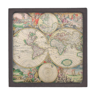 Antique World Map Jewelry Box
