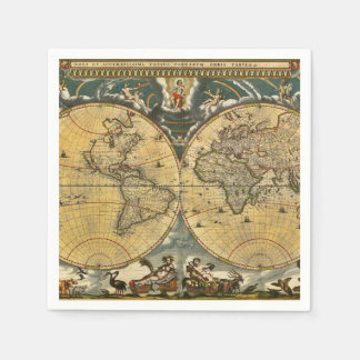 Antique World Map - Joan Blaeu - 1664 Party Napkin