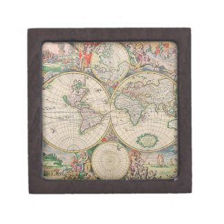 Antique World Map Keepsake Box