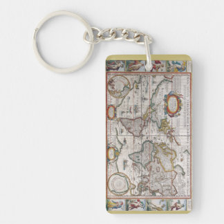 Antique World Map key chain