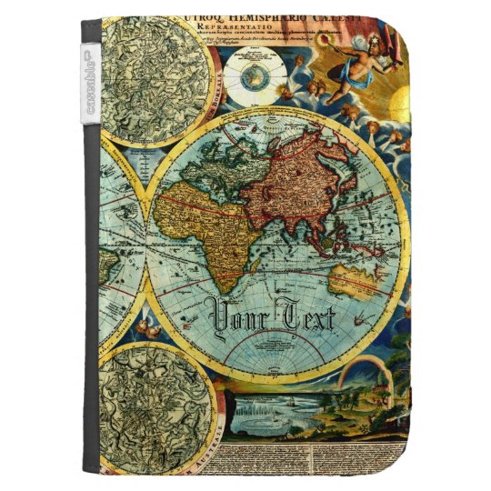 Antique World Map Kindle Case Cover Sleeve AddText