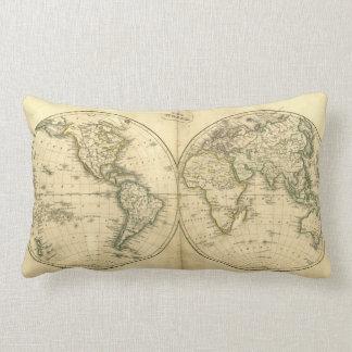 Antique world map lumbar pillow