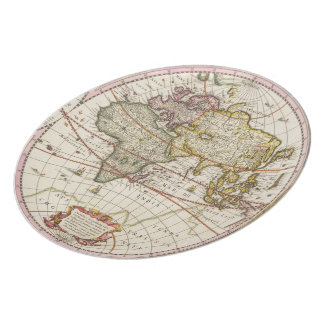 Antique World Map Melamine Plate