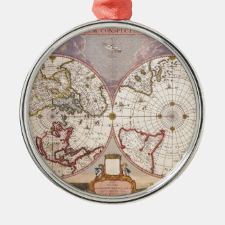 Antique World Map Metal Ornament