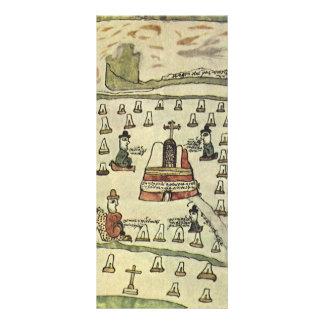 Antique World Map; Montezuma Aztec Empire, 1577 Rack Card Design