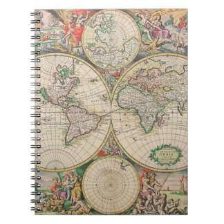 Antique World Map Notebook