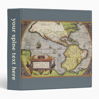 Antique World Map of the Americas, 1570 3 Ring Binder