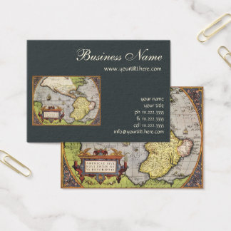 Antique World Map of the Americas, 1570 Business Card