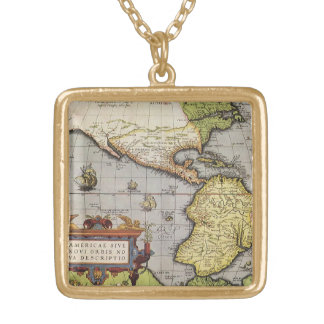Antique World Map of the Americas, 1570 Gold Plated Necklace