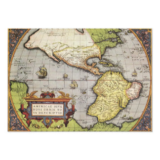"Antique World Map of the Americas, 1570 5"" X 7"" Invitation Card"