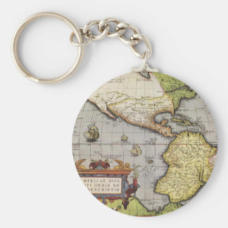 Antique World Map of the Americas, 1570 Key Chain