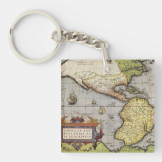 Antique World Map of the Americas, 1570 Acrylic Key Chains