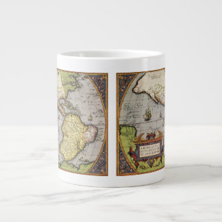 Antique World Map of the Americas, 1570 Large Coffee Mug