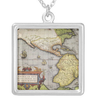 Antique World Map of the Americas, 1570 Pendant