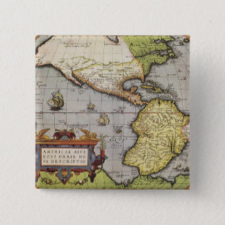 Antique World Map of the Americas, 1570 Pinback Button