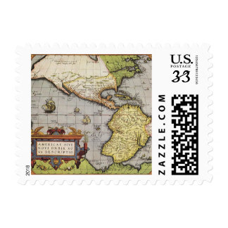 Antique World Map of the Americas 1570 Postage Stamp